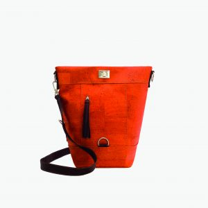 Дамска раница-чанта (2 в 1) от корк 'CONVERSÍVEL LARANJA'