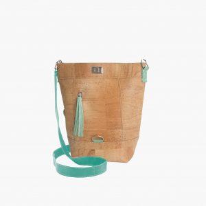 Дамска раница-чанта (2 в 1) от корк 'CONVERSÍVEL TURQUESA'