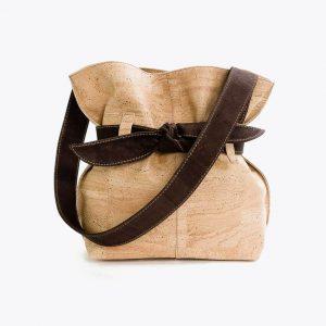 """Дамска чанта от корк """"Big Bow Beige"""""""