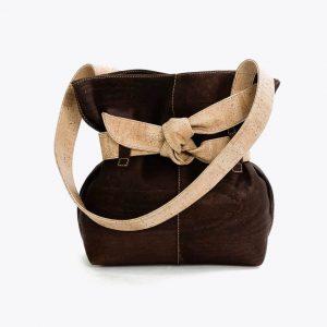 "Дамска чанта от корк ""Big Bow Brown"""