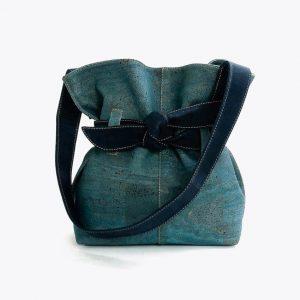"""Дамска чанта от корк """"Big Bow Blue"""""""