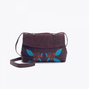 Дамска чанта от корк с бродерия 'BORDADA' Brown