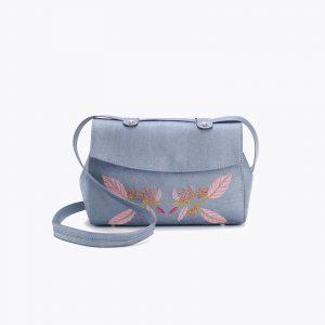 Дамска чанта от корк с бродерия 'BORDADA' Blue